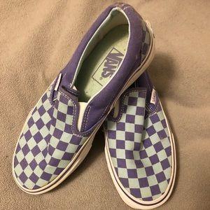 Vans purple/light blue checkered slip ons